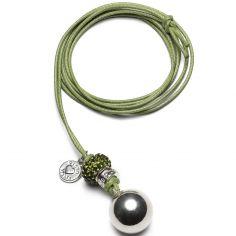 Bola sur cordon vert Bling (plaqué argent)