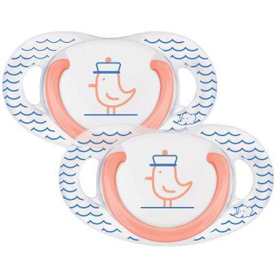 Lot de 2 sucettes physiologiques en latex Navy (18-36 mois)