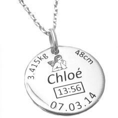 Médaille de naissance ronde ange avec chaîne personnalisable (argent 925° rhodié)
