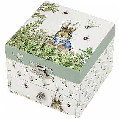 Boîte à bijoux musicale cube Pierre Lapin libellule  par Trousselier