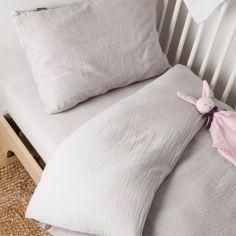 Housse de Couette + taie d'oreiller en coton bio froissé Gris foncé (100 x 140 cm)
