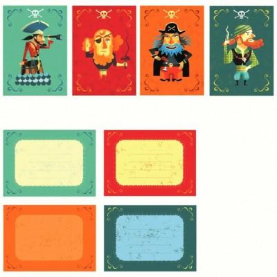 Pack de 8 cartes d'invitation des Pirates  par Little big room by Djeco
