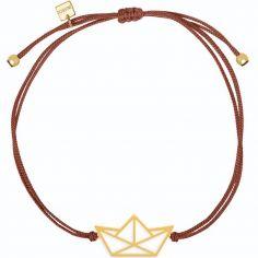 Bracelet sur cordon bordeaux bateau Origami (vermeil doré)