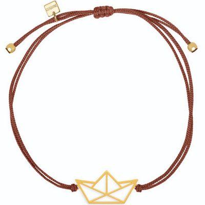 Bracelet sur cordon bordeaux bateau Origami (vermeil doré)  par Coquine