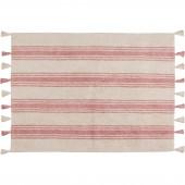 Tapis lavable rayé rose corail sur fond crème avec pompons (120 x 160 cm) - Lorena Canals