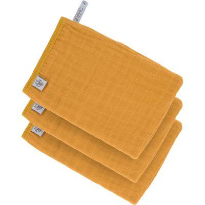 Lot de 3 gants de toilette en mousseline de coton moutarde  par Lässig