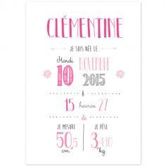 Affiche de naissance A4 rose (personnalisable)