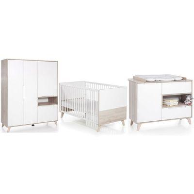 Pack trio lit bébé évolutif, commode à langer et armoire Mette blanc et naturel Geuther
