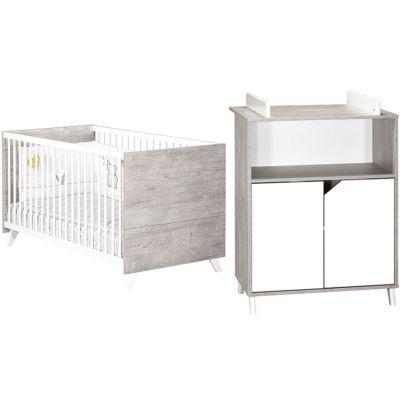 Pack duo Scandi gris lit bébé évolutif et commode à langer Baby Price