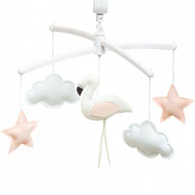 Mobile musical flamant rose et blanc (mélodie au choix)