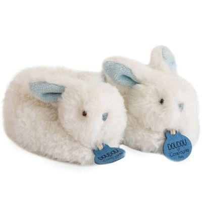 Coffret chaussons hochet Mon tout petit lapin bleu (0-6 mois)  par Doudou et Compagnie