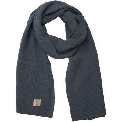 Écharpe d'allaitement en mousseline de coton bleu marine  par Lässig