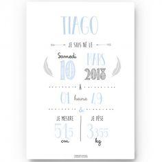 Affiche de naissance A3 bleu ciel (personnalisable)