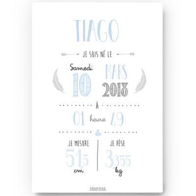 Affiche de naissance A3 bleu ciel (personnalisable)  par La Poupette à paillettes
