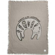 Couverture en coton froissé chat Kindness Cat (70 x 100 cm)  par Elodie Details