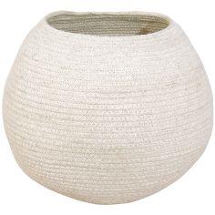 Panier de rangement en coton boule Tribute to Cotton ivoire (27 x 30 x 30 cm)