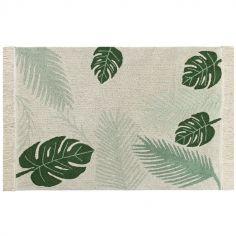 Tapis lavable Tropical Green sur fond écru (140 x 200 cm)
