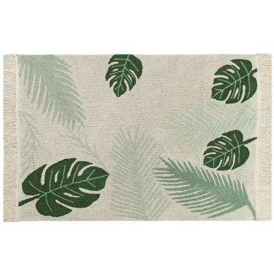 Tapis lavable Tropical Green sur fond écru (140 x 200 cm)  par Lorena Canals
