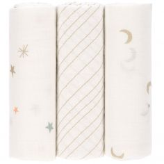 Lot de 3 langes Stars and Moon or (80 x 80 cm)