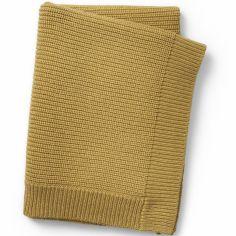 Couverture en coton et laine jaune Gold (100 x 70 cm)