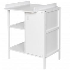Table à langer Robby 1 porte 2 étagères blanche