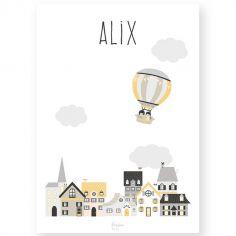 Affiche A4 Une mongolfière dans la ville jaune (personnalisable)