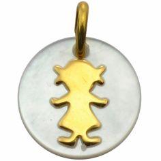 Médaille Petit trésor silhouette fille (or jaune 750° nacre)