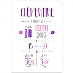 Affiche de naissance A3 violette (personnalisable)