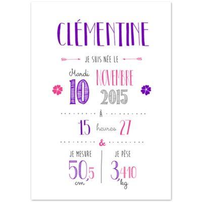 Affiche de naissance A3 violette (personnalisable)  par La Poupette à paillettes