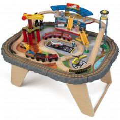 Circuit de train sur table en bois (79 x 61 cm)