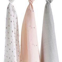 Lot de 3 langes en coton bio Miss Fleur de Lune (70 x 70 cm)