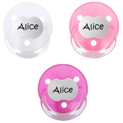 Lot de 3 sucettes personnalisables fille rondes Baby-nova en silicone (3-36 mois)  par Baby Tute