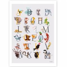 Affiche A4 abécédaire animalier jaune