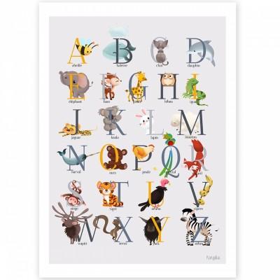 Affiche A4 abécédaire animalier jaune  par Kanzilue
