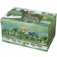 Boîte à bijoux musicale phosphorescente cheval verte