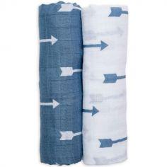 Lot de 2 maxi langes en coton flèches bleues (120 x 120 cm)