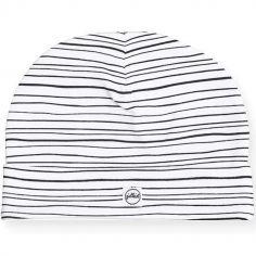 Bonnet en coton rayures noires (6-12 mois)