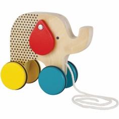 Eléphant à tirer en bois