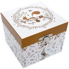 Boîte à musique cube écureuil dans la prairie Lutin Petit Pois