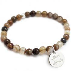 Bracelet de perles marron personnalisable (argent 925° et agate)