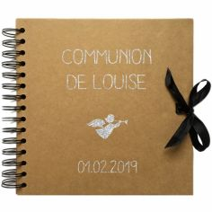 Album photo communion personnalisable kraft et argent (20 x 20 cm)