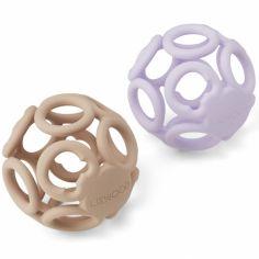 Lot de 2 balles de dentition en silicone Jasmin lavender rose mix
