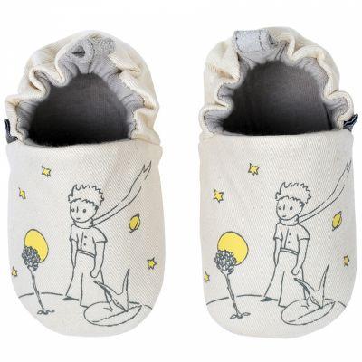 Chaussons en coton et cuir Le Petit Prince et le renard (3-6 mois)  par Petit Jour Paris