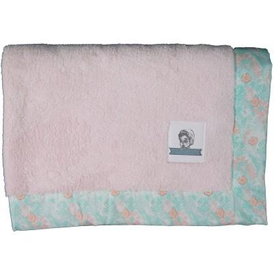Couverture bébé en tissu doudou Akela rose poudré (75 x 100 cm) Les Petits Vintage