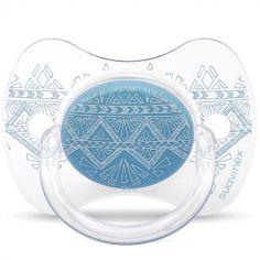Sucette anatomique réversible Couture Ethnic bleu en silicone (0-4 mois)