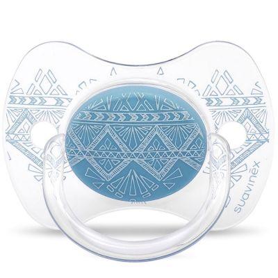 Sucette anatomique réversible Couture Ethnic bleu en silicone (0-4 mois)  par Suavinex