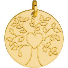 Médaille ronde Arbre de vie coeur (or jaune 375°)