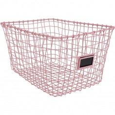 Panier de rangement en métal rose (30 x 40 cm)