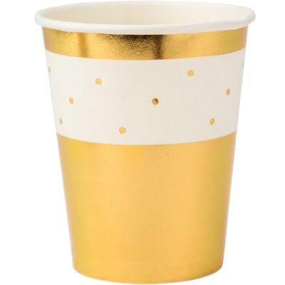 Lot de 8 gobelets en carton Pois dorés  par Arty Fêtes Factory