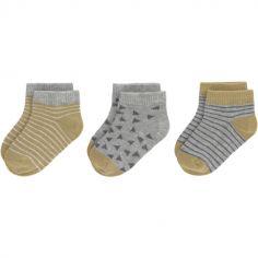 Lot de 3 paires de chaussettes bébé en coton bio gris et curry (pointure 19-22)